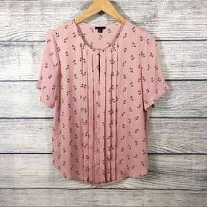 Ann Taylor pink floral blouse size small